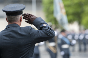 RAF Warrant Officer Saluting