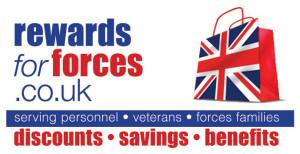 Rewards for Forces logo - discounts for serving personnel, veterans, forces families