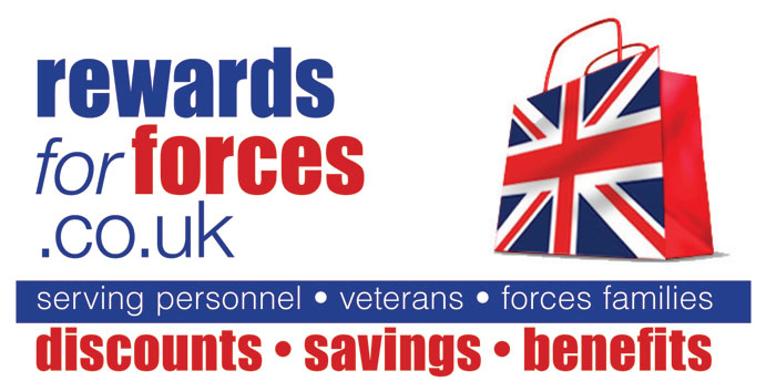 Rewards for Forces logo - discounts for serving forces personnel, veterans, forces families